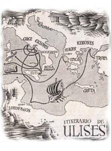 Mapa de los viajes de Ulises