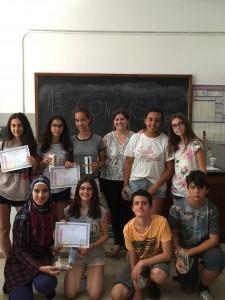 Los premiados con su profesora Marta Gil
