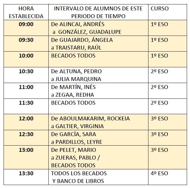 horario banco de libros